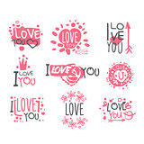 Romantic I Love You Message For St Valentines Day Postcard, Colorful Graphic Design Template Logo Set, Hand Drawn Vector Stencils