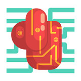 Electronic Android Heart Internal Organ, Part Of Futuristic Robotic And IT Science Series Of Cartoon Icons
