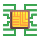 Computer Chip Plugged To The Maternal Board, Part Of Futuristic Robotic And IT Science Series Of Cartoon Icons