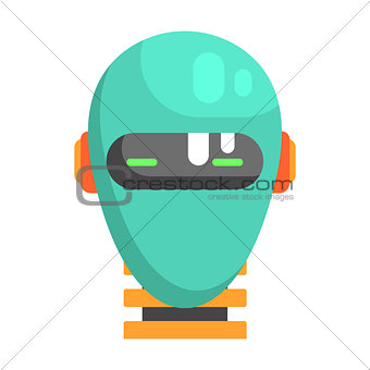 Android Head Facing Portrait, Part Of Futuristic Robotic And IT Science Series Of Cartoon Icons
