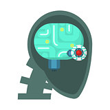 Android Head Cut Through With Electronic Eye And Brain Inside, Part Of Futuristic Robotic And IT Science Series Of Cartoon Icons