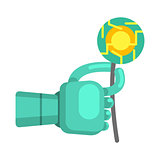 Metal Android Hand Holding Electronic Flower, Part Of Futuristic Robotic And IT Science Series Of Cartoon Icons