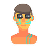 Humanized Android Portrait With Electronic Elements, Part Of Futuristic Robotic And IT Science Series Of Cartoon Icons