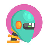 Blue Android Head Portrait, Part Of Futuristic Robotic And IT Science Series Of Cartoon Icons