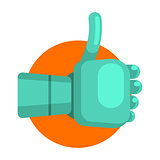 Metal Android Hand Showing Thumb Up, Part Of Futuristic Robotic And IT Science Series Of Cartoon Icons