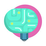 Elecrtonic Brain For Android, Human Organ Replica, Part Of Futuristic Robotic And IT Science Series Of Cartoon Icons
