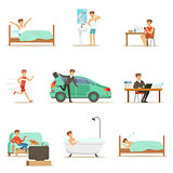 Modern Man Daily Routine From Morning To Evening Series Of Cartoon Illustrations With Happy Character