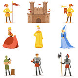 Medieval Cartoon Characters And European Middle Ages Historic Period Attributes Set Of Icons