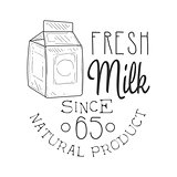 Natural Fresh Milk Product Promo Sign In Sketch Style With Carton Box, Design Label Black And White Template