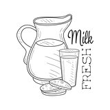 Fresh Milk Product Promo Sign In Sketch Style With Jug, Glass And Biscuits , Design Label Black And White Template