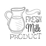 Fresh Milk Product Promo Sign In Sketch Style With Glass Jug, Design Label Black And White Template