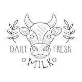 Fresh Milk Product Promo Sign In Sketch Style With Cow And Plant Branches, Design Label Black And White Template