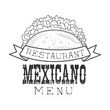 Restaurant Mexican Food Menu Promo Sign In Sketch Style With Taco Wrap, Design Label Black And White Template