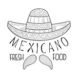 Restaurant Mexican Fresh Food Menu Promo Sign In Sketch Style With Sombrero And Mariachi Moustache, Design Label Black And White Template
