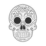 Traditional Mexican Painted Scull, Dia De Muertos Holiday Symbol In Sketch Style In Black And White Color.