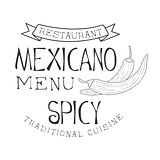 Restaurant Traditional Quisine Mexican Food Menu Promo Sign In Sketch Style With Chili Peppers , Design Label Black And White Template