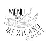 Restaurant Mexican Food Menu Promo Sign In Sketch Style With Chili Peppers, Design Label Black And White Template