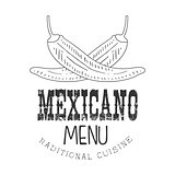 Traditional Restaurant Mexican Food Menu Promo Sign In Sketch Style With Chili Peppers , Design Label Black And White Template