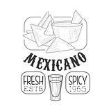 Restaurant Fresh Mexican Food Menu Promo Sign In Sketch Style With Nachos And Dip , Design Label Black And White Template