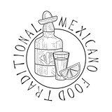 Traditional Restaurant Mexican Food Menu Promo Sign In Sketch Style With Tequila Bottle , Design Label Black And White Template
