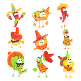 Mexican Food And Vegetables Series OF Cool Cartoon Characters In National Clothes With Guitars And Maracas, Smiling And Dancing