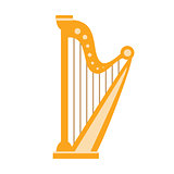 Harp, Part Of Musical Instruments Set Of Realistic Cartoon Vector Isolated Illustrations