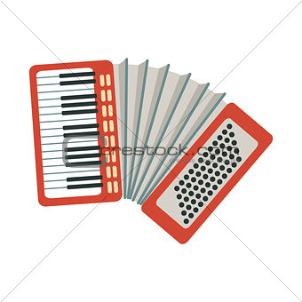 Accordion, Part Of Musical Instruments Set Of Realistic Cartoon Vector Isolated Illustrations