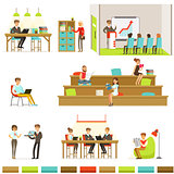 Coworking Workplace, Freelancers Sharing Space And Ideas In Office Where They Work Together Set Of Illustrations