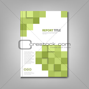 Brochures book or flyer with abstract green squares