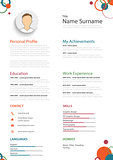 Professional colored resume cv with rings template