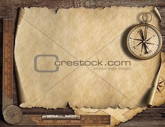 Old blank map background with compass. Adventure and travel concept. 3d illustration.