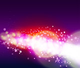 Abstract background with light glare, bokeh and glowing particles.