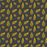Leaf Brush Gold Seamless Pattern