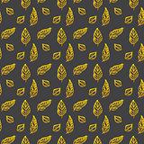 Leaf Brush Gold Seamless Pattern
