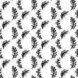 Natural Plants Brush Seamless Pattern
