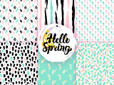 Nature Spring Funky Seamless Patterns