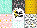 Spring Funky Seamless Patterns