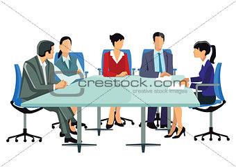 A group of business people at the meeting