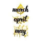 Spring Months Handwritten Lettering