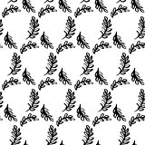 Spring Leaf Brush Seamless Pattern
