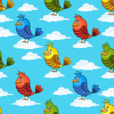 Funny Birds on Clouds, Seamless