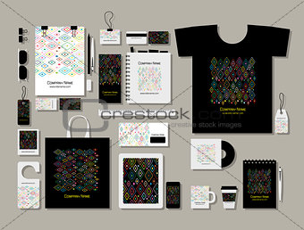 Corporate flat mock-up template, abstract geometric design
