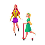 Two girls, women, one roller skating, another riding kick scooter