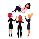 Businesswomen throwing their leader, boss, coworker in air celebrating success