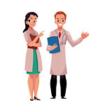 Male and female doctors in medical coats holding clipboard, folder