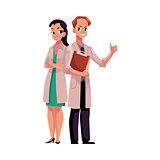Male and female doctors in medical coats, man and woman