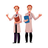 Two doctors in medical coats, holding folder and clipboard