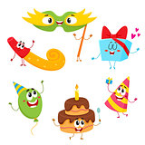 Cute and funny birthday item characters with smiling human faces
