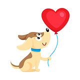 Cute and funny dog, puppy holding red heart shaped balloon
