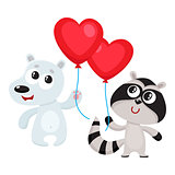 Funny bear and raccoon holding red heart shaped balloon